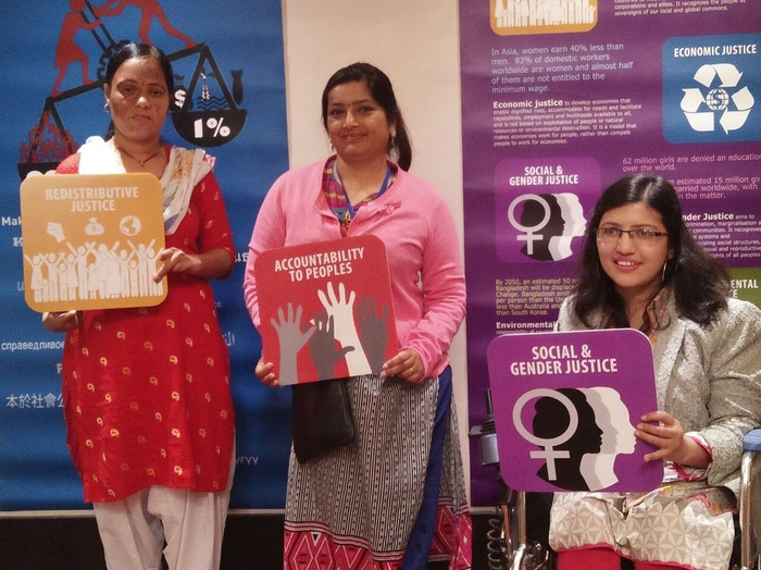 Anuradha with two female disability advocates.