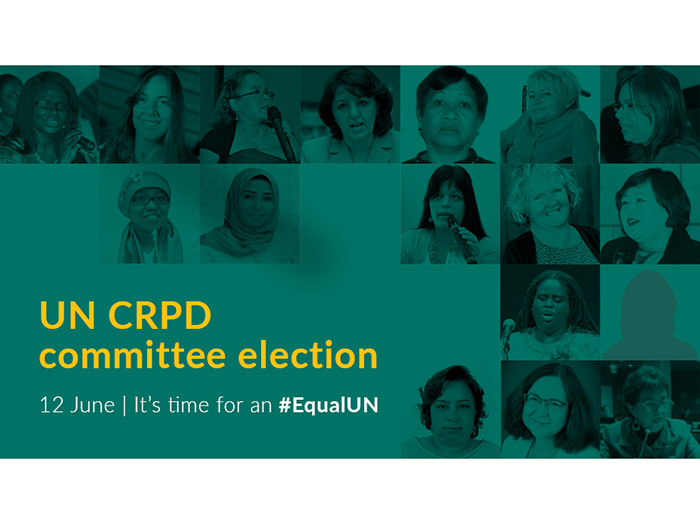Grid image showing 17 women. Text says '12 June, it's time for an #EqualUN. UNCRPD committee election.