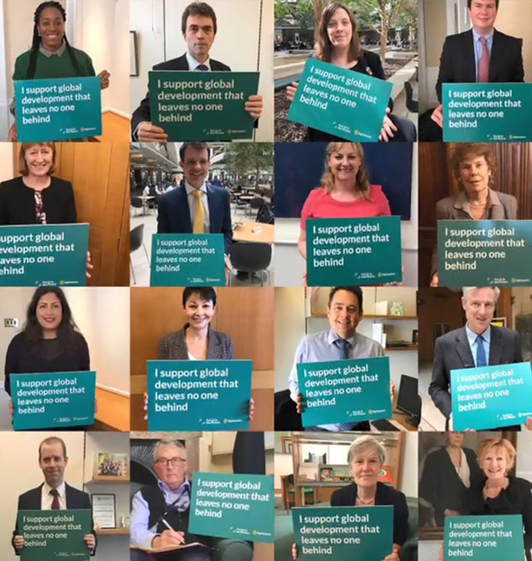16 images on MPs holding up sign in support of global development that leaves no one behind.