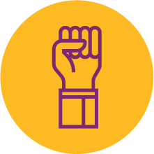 A graphic of a raised fist.