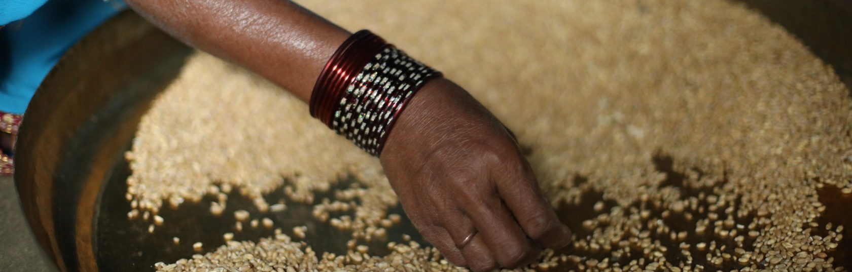 Close up shot of a woman's hand in a pan of grains.